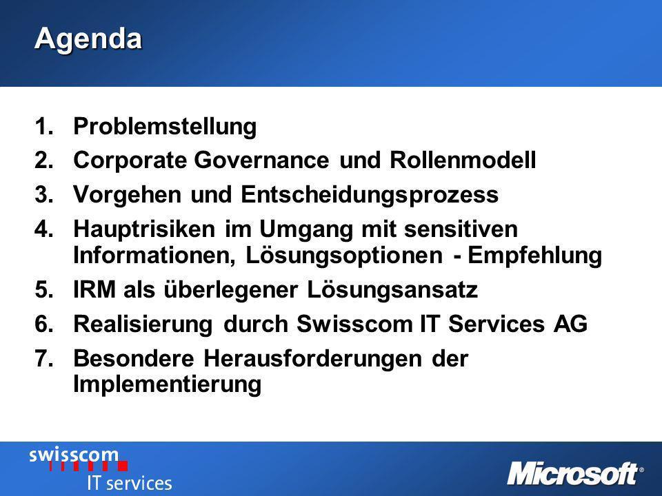 Agenda Problemstellung Corporate Governance und Rollenmodell
