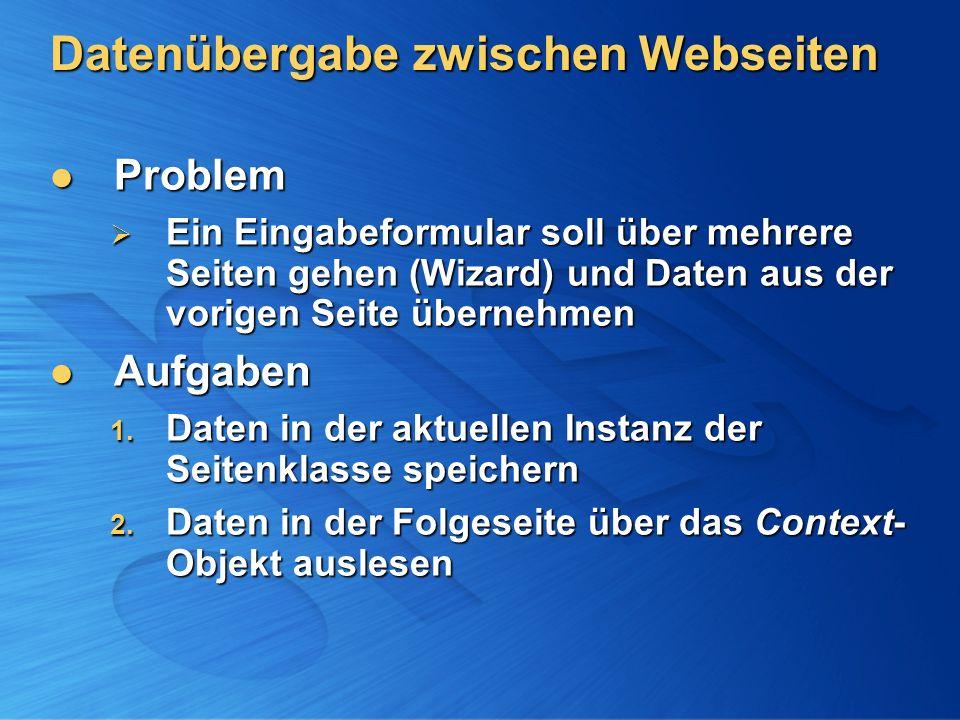 Datenübergabe zwischen Webseiten