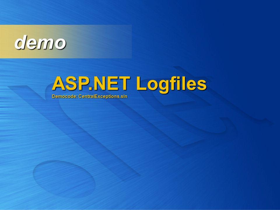 demo ASP.NET Logfiles Democode: CentralExceptions.sln