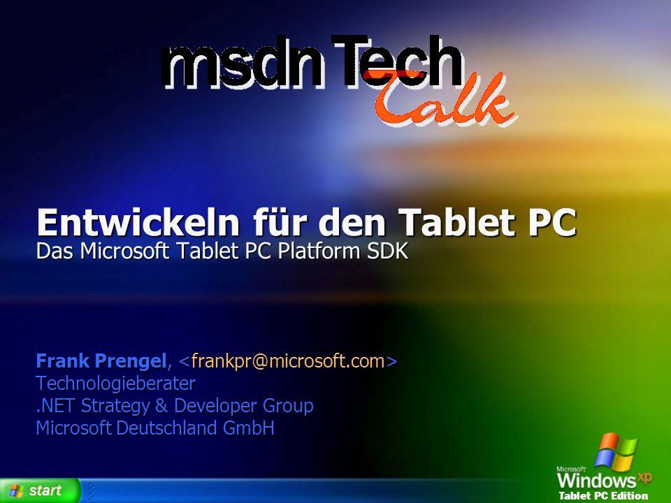 Entwickeln für den Tablet PC Das Microsoft Tablet PC Platform SDK