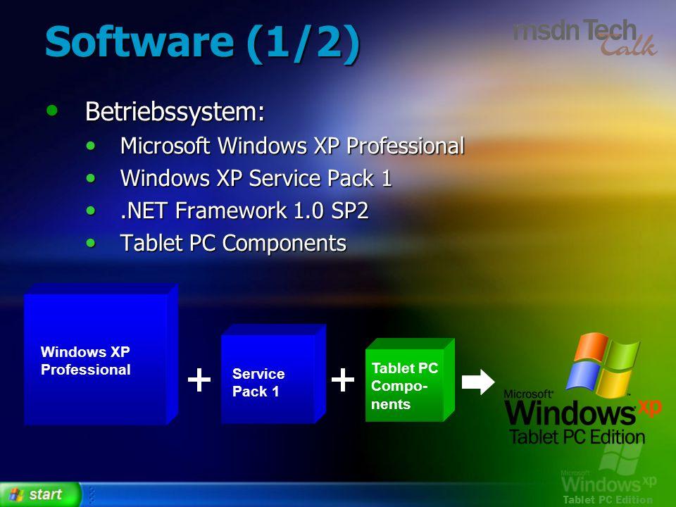 Software (1/2) Betriebssystem: Microsoft Windows XP Professional