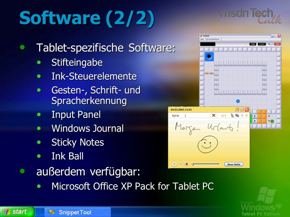 Software (2/2) Tablet-spezifische Software: außerdem verfügbar:
