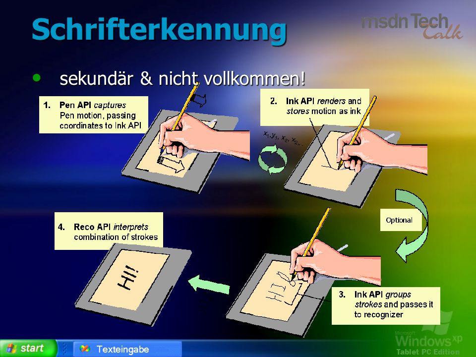 Schrifterkennung sekundär & nicht vollkommen! Texteingabe