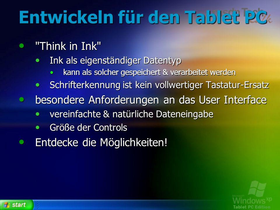 Entwickeln für den Tablet PC