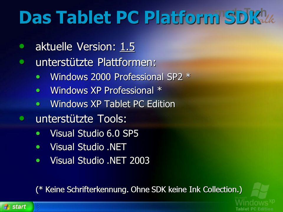 Das Tablet PC Platform SDK