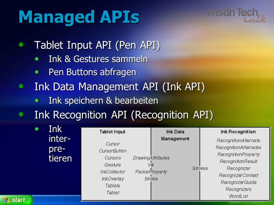 Managed APIs Tablet Input API (Pen API)