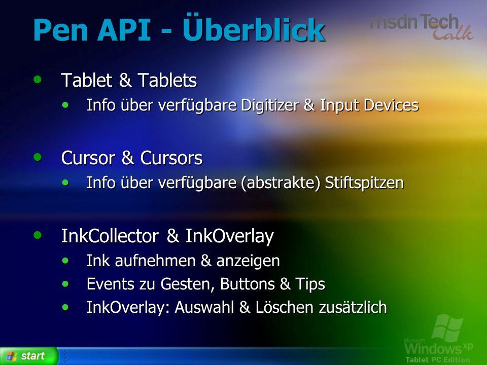 Pen API - Überblick Tablet & Tablets Cursor & Cursors