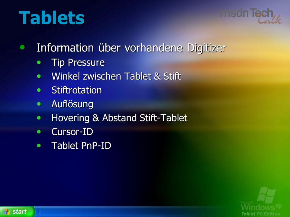 Tablets Information über vorhandene Digitizer Tip Pressure