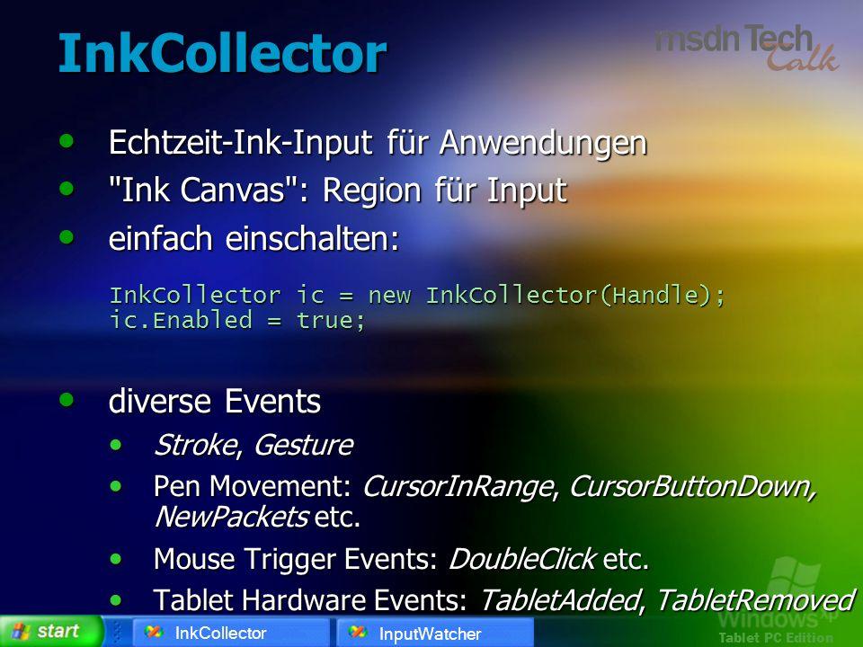InkCollector Echtzeit-Ink-Input für Anwendungen