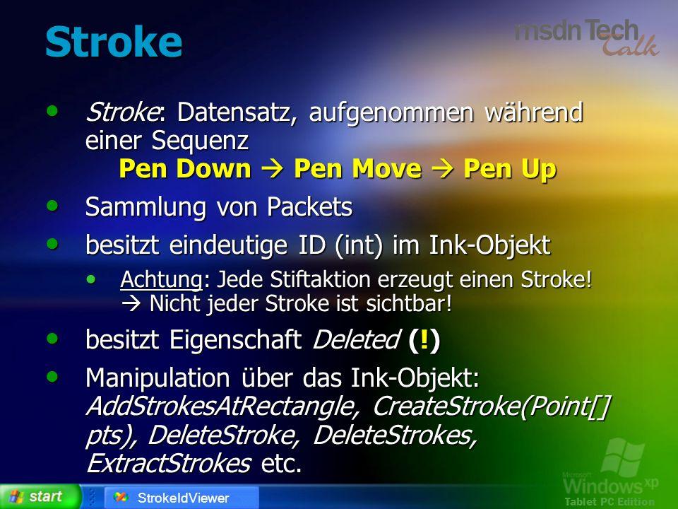 Stroke Stroke: Datensatz, aufgenommen während einer Sequenz Pen Down  Pen Move  Pen Up. Sammlung von Packets.