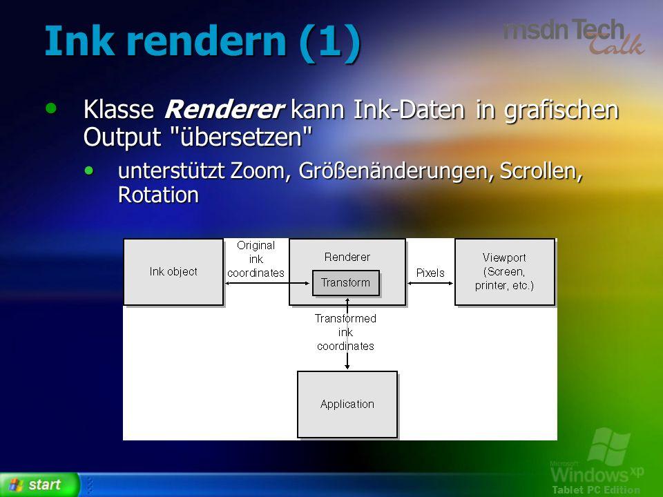 Ink rendern (1) Klasse Renderer kann Ink-Daten in grafischen Output übersetzen unterstützt Zoom, Größenänderungen, Scrollen, Rotation.