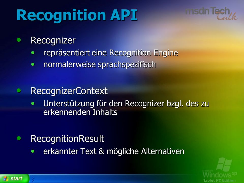 Recognition API Recognizer RecognizerContext RecognitionResult