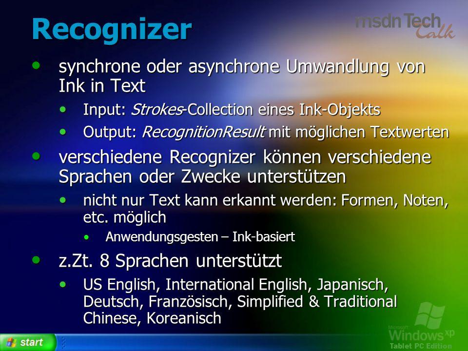 Recognizer synchrone oder asynchrone Umwandlung von Ink in Text