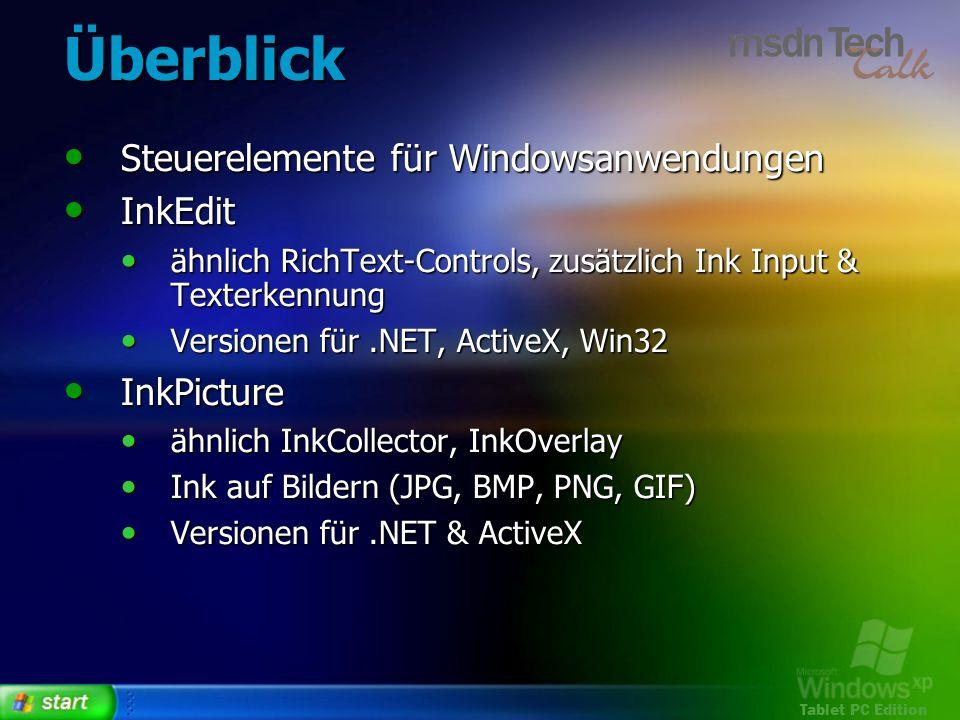 Überblick Steuerelemente für Windowsanwendungen InkEdit InkPicture