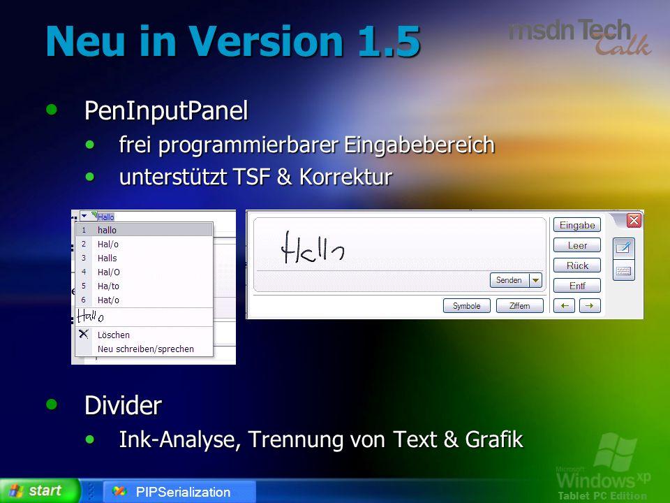 Neu in Version 1.5 PenInputPanel Divider
