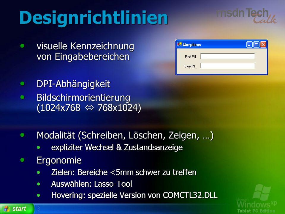 Designrichtlinien visuelle Kennzeichnung von Eingabebereichen