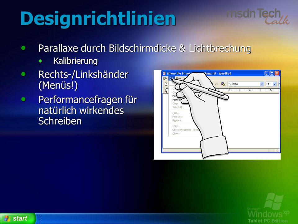 Designrichtlinien Parallaxe durch Bildschirmdicke & Lichtbrechung