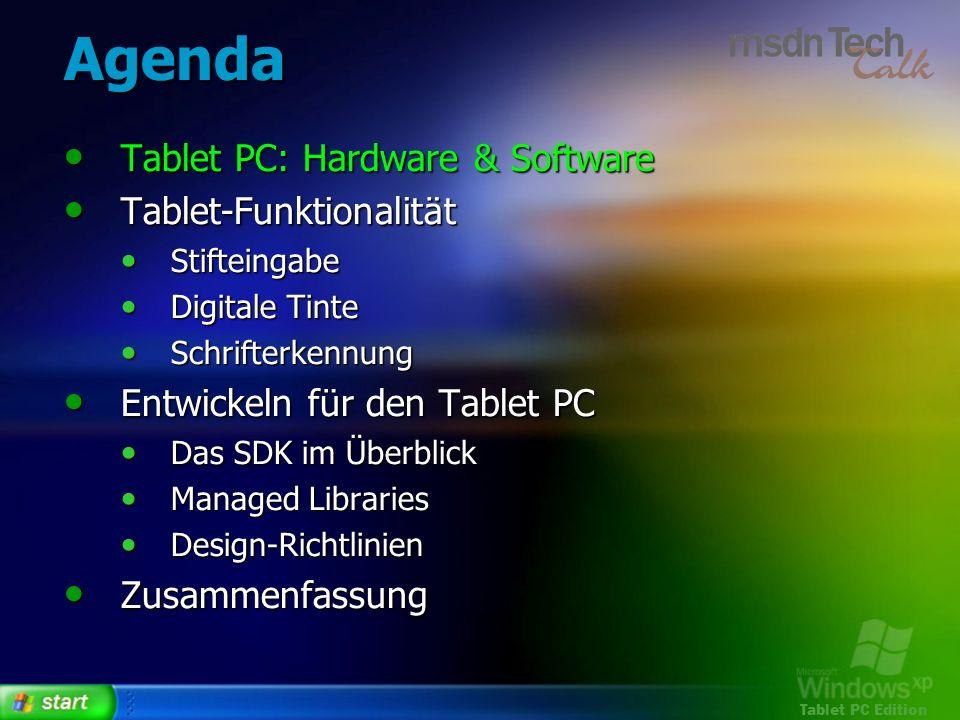 Agenda Tablet PC: Hardware & Software Tablet-Funktionalität