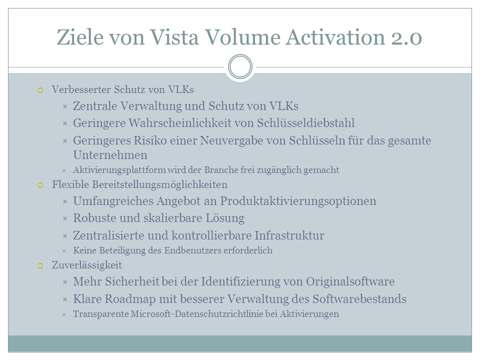 Ziele von Vista Volume Activation 2.0