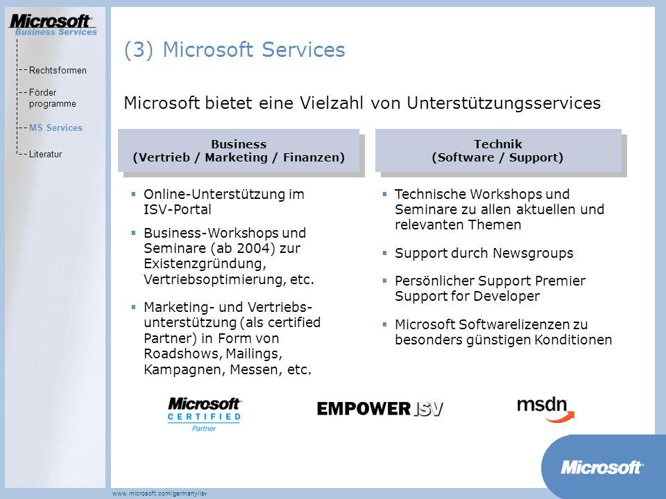 (3) Microsoft Services Rechtsformen. Förder programme. MS Services. Literatur. Microsoft bietet eine Vielzahl von Unterstützungsservices.