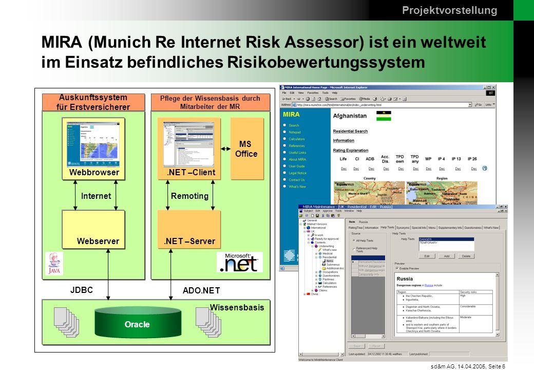 Projektvorstellung MIRA (Munich Re Internet Risk Assessor) ist ein weltweit im Einsatz befindliches Risikobewertungssystem.
