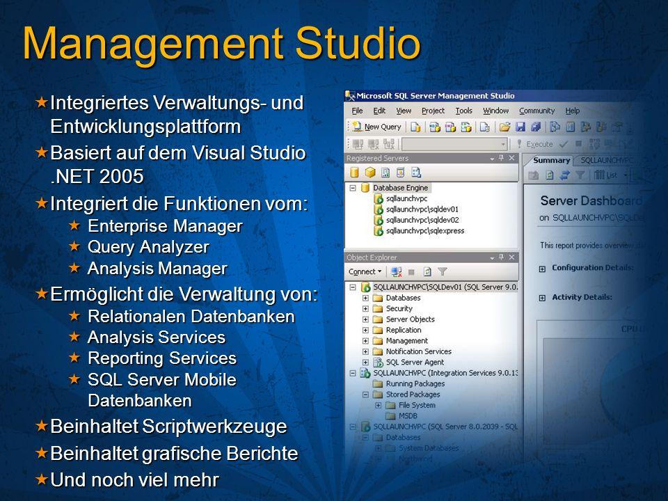 Management Studio Integriertes Verwaltungs- und Entwicklungsplattform