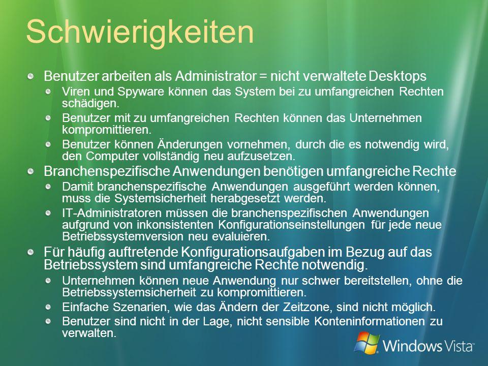 Schwierigkeiten Benutzer arbeiten als Administrator = nicht verwaltete Desktops.