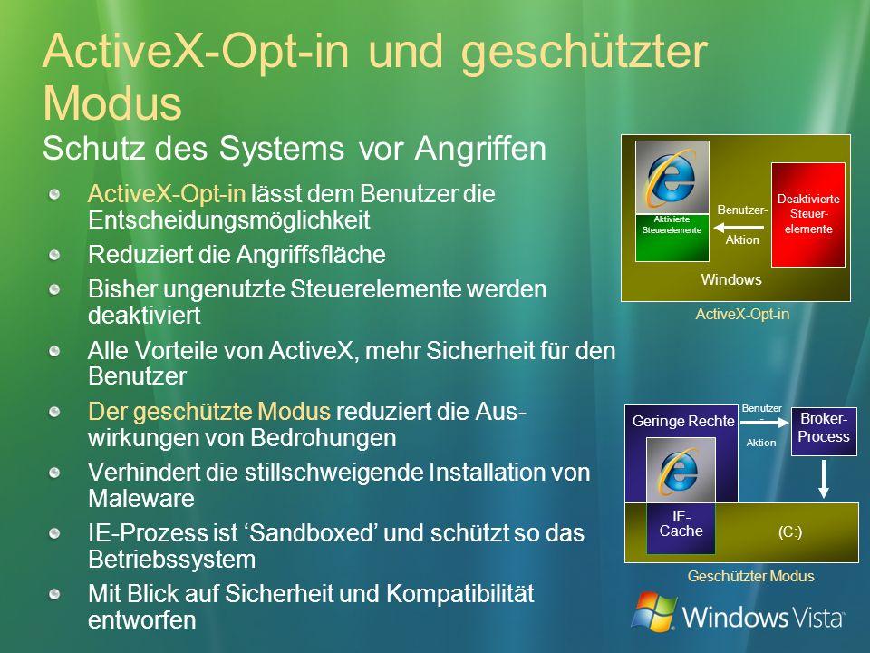 ActiveX-Opt-in und geschützter Modus Schutz des Systems vor Angriffen