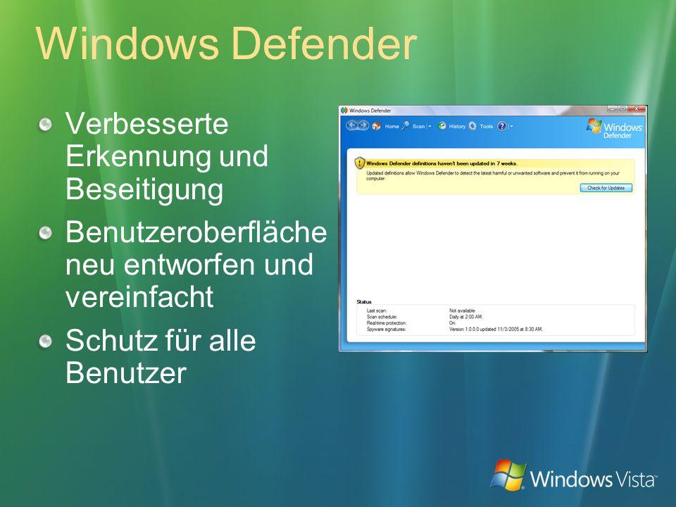 Windows Defender Verbesserte Erkennung und Beseitigung