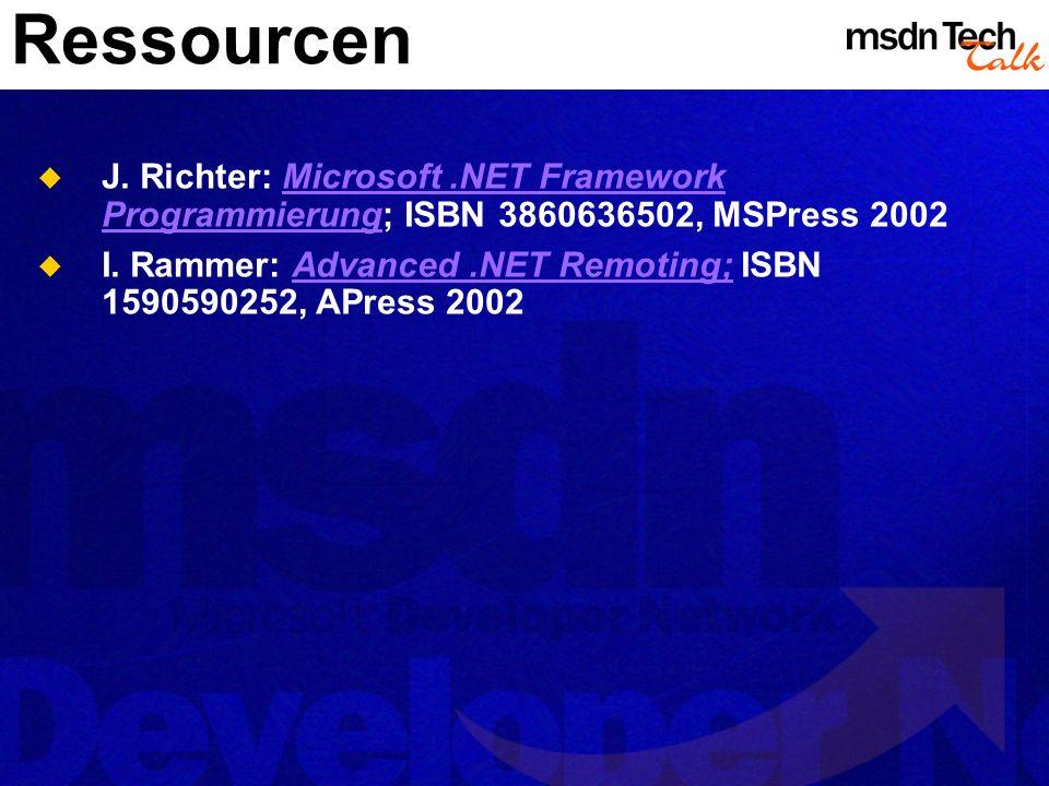 Ressourcen J. Richter: Microsoft .NET Framework Programmierung; ISBN 3860636502, MSPress 2002.