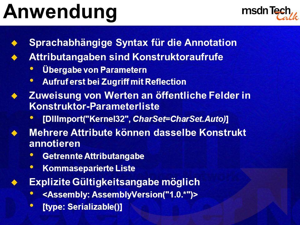 Anwendung Sprachabhängige Syntax für die Annotation