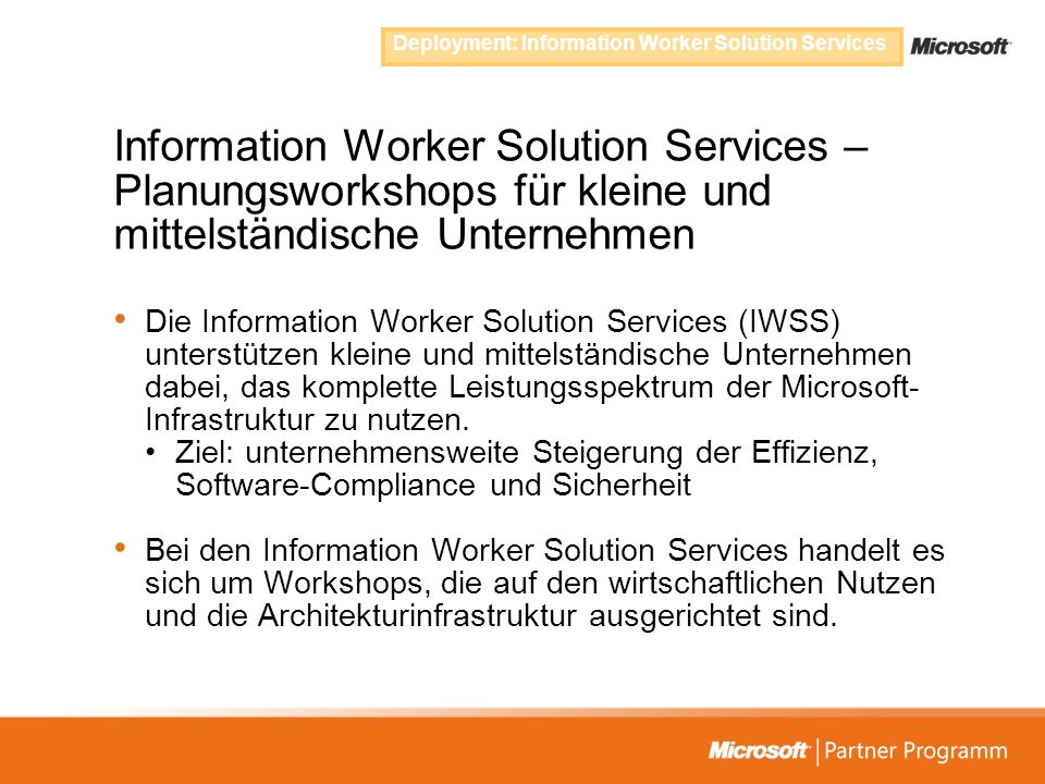 Deployment: Information Worker Solution Services