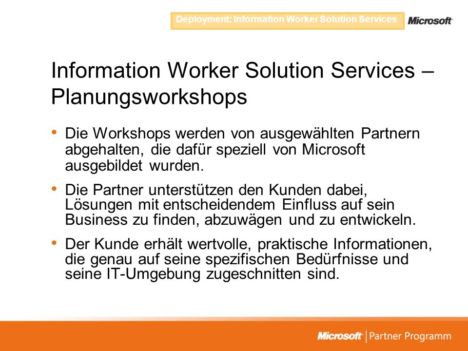 Information Worker Solution Services – Planungsworkshops