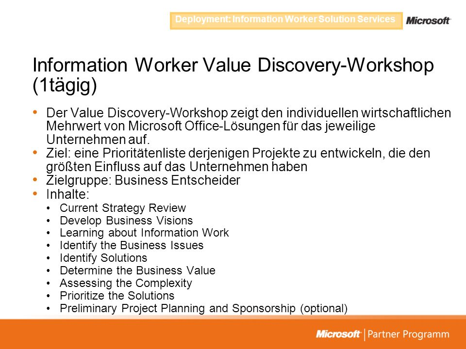 Information Worker Value Discovery-Workshop (1tägig)