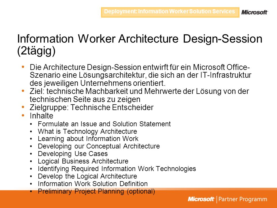 Information Worker Architecture Design-Session (2tägig)