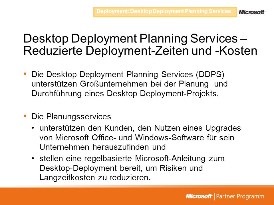 Deployment: Desktop Deployment Planning Services