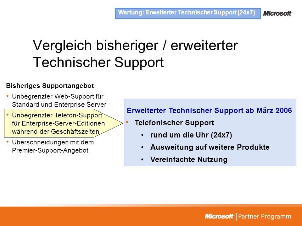 Vergleich bisheriger / erweiterter Technischer Support
