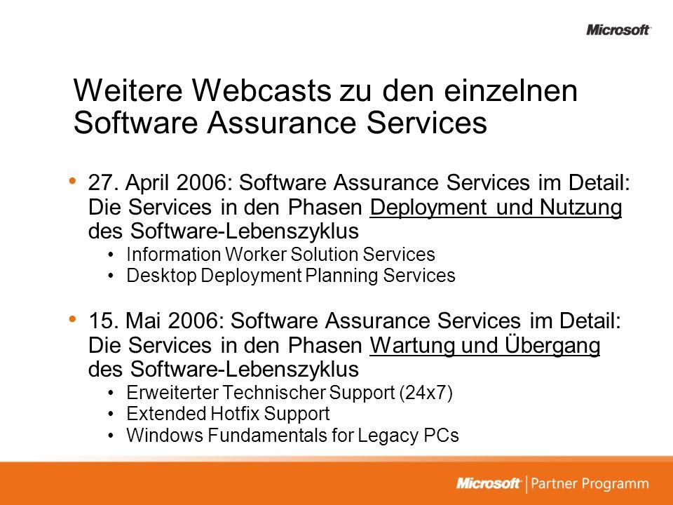 Weitere Webcasts zu den einzelnen Software Assurance Services
