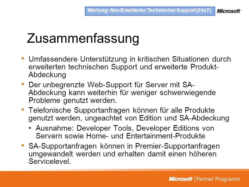 Wartung: Neu Erweiterter Technischer Support (24x7)