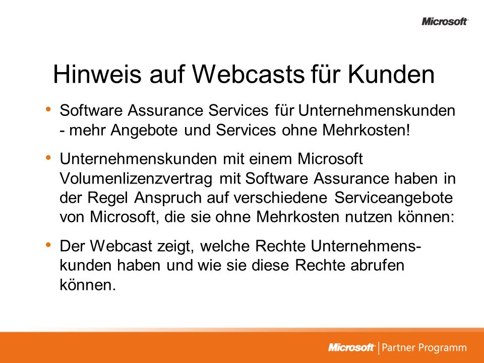 Hinweis auf Webcasts für Kunden