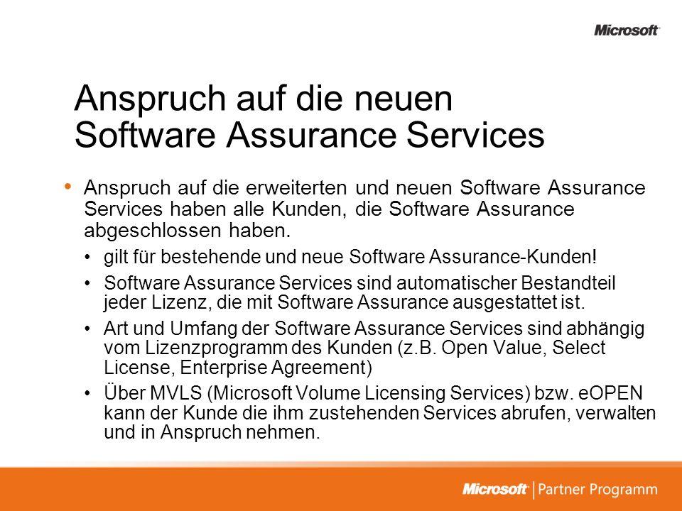 Anspruch auf die neuen Software Assurance Services