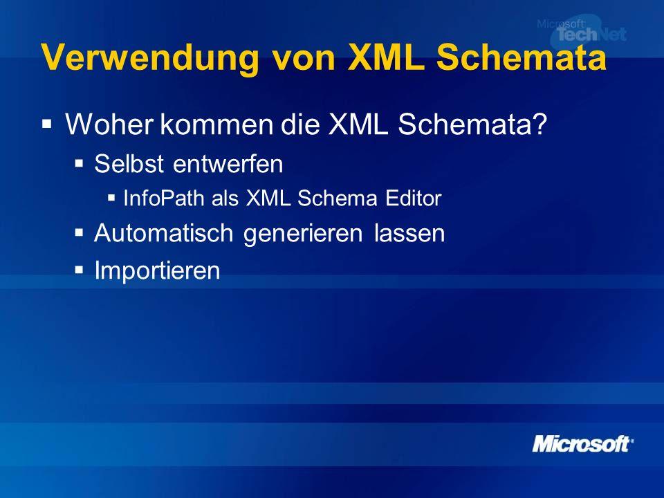 Verwendung von XML Schemata