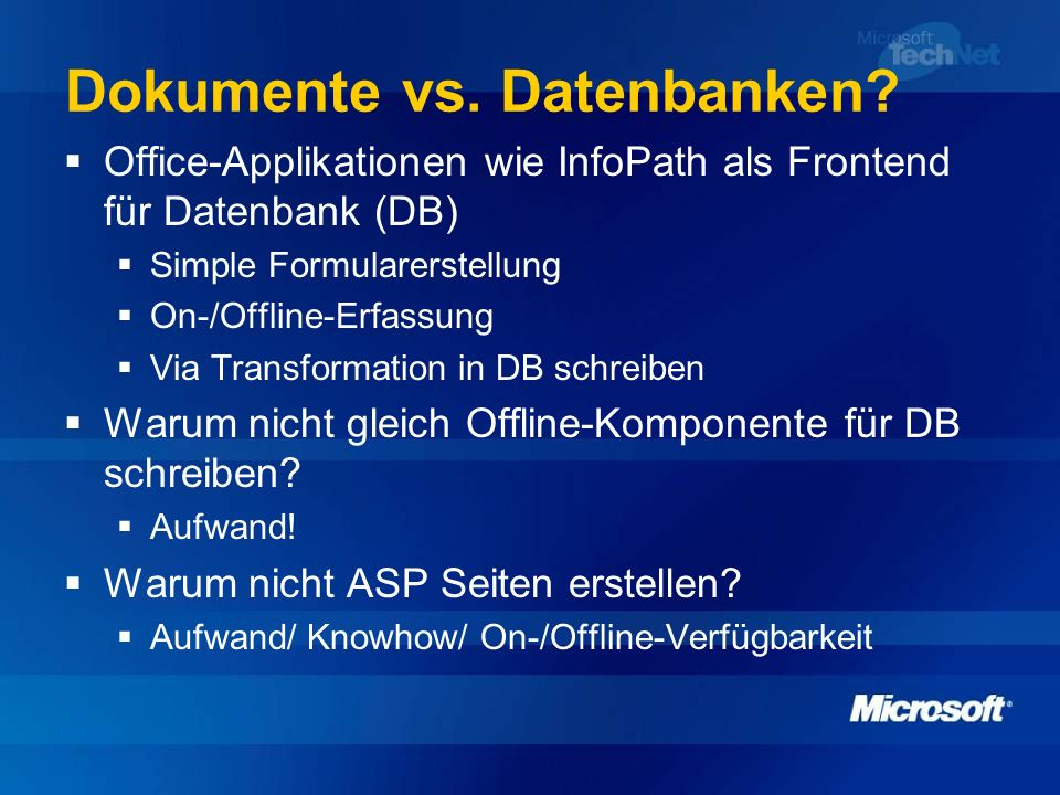 Dokumente vs. Datenbanken