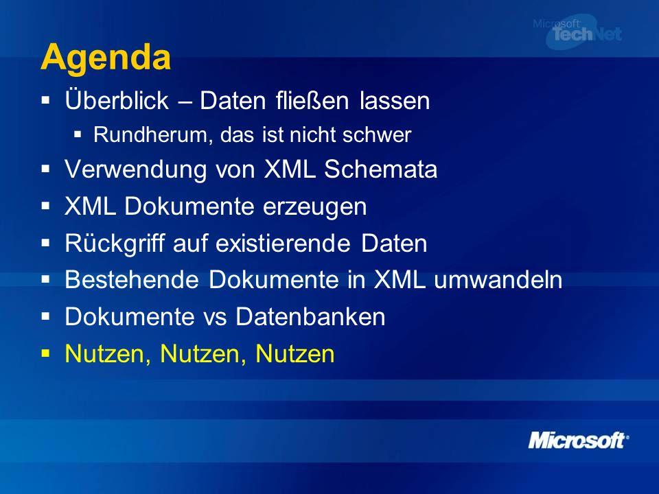 Agenda Überblick – Daten fließen lassen Verwendung von XML Schemata