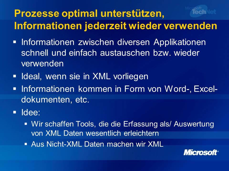 Prozesse optimal unterstützen, Informationen jederzeit wieder verwenden