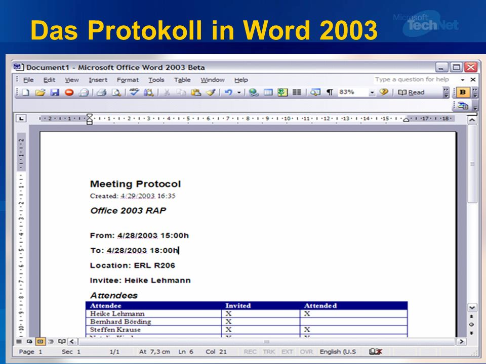 Das Protokoll in Word 2003
