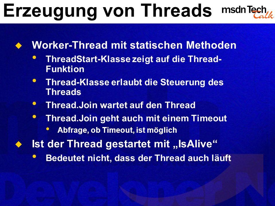 Erzeugung von Threads Worker-Thread mit statischen Methoden