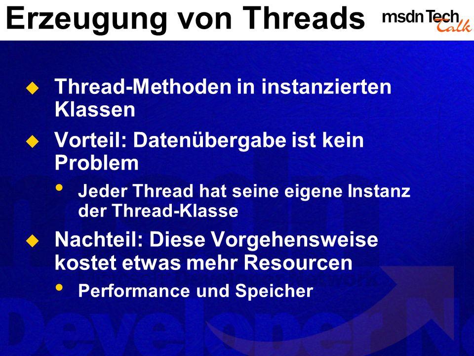 Erzeugung von Threads Thread-Methoden in instanzierten Klassen