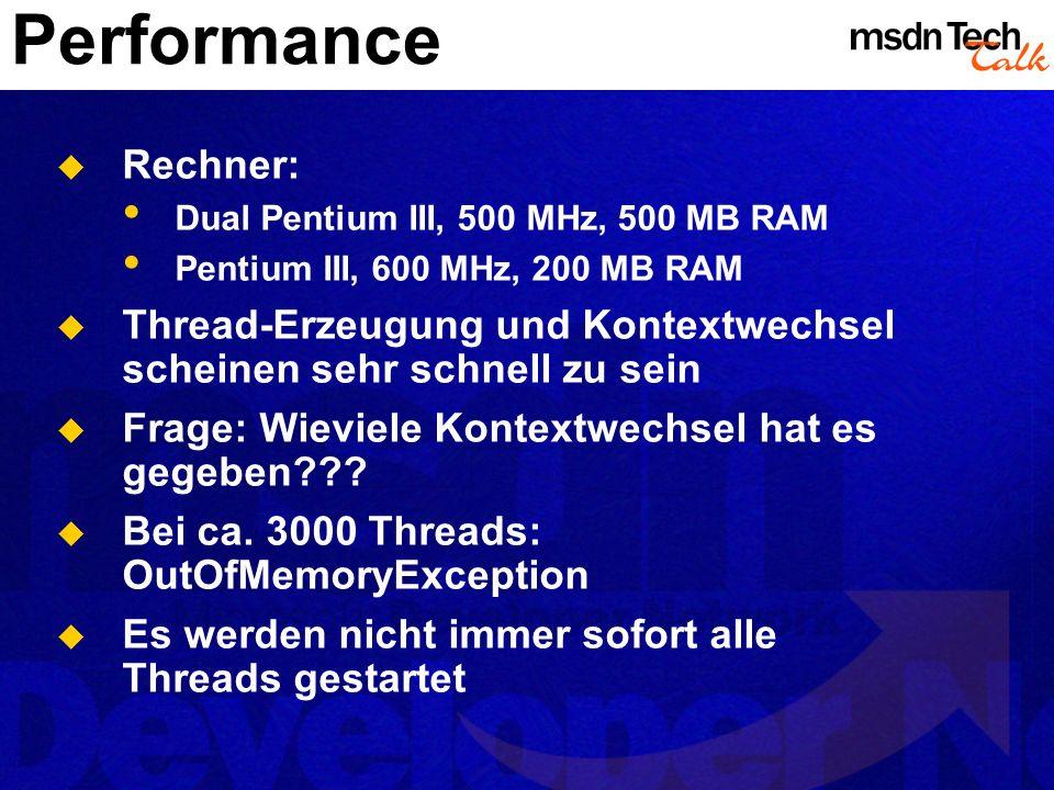 Performance Rechner: Dual Pentium III, 500 MHz, 500 MB RAM. Pentium III, 600 MHz, 200 MB RAM.