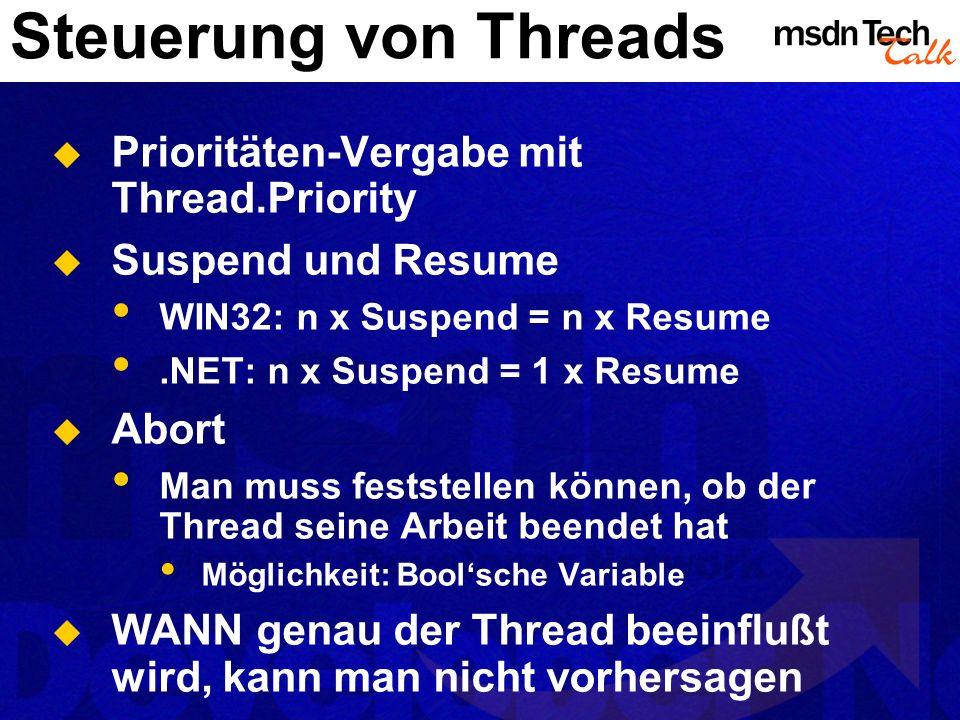 Steuerung von Threads Prioritäten-Vergabe mit Thread.Priority
